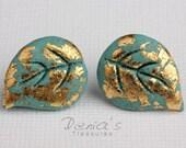 Turquoise leaf earrings, Stud earrings - Turquoise Leaf - Polymer clay, Turquoise post earrings