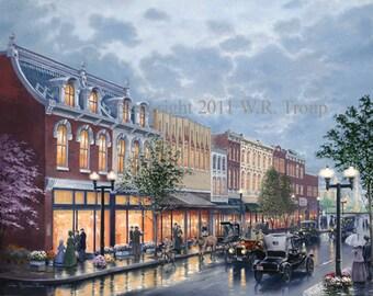 "Main Street, Franklin TN,   Raymon Troup, Cityscape, Victorian Art, 28x36"""