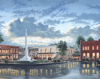"""Franklin, Tennessee Square, The Town Square 18x32"""" Unframed Giclee Print, Raymon Troup"""
