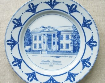 Court House Plate in Blue and White Porcelain, Franklin TN, Raymon Troup