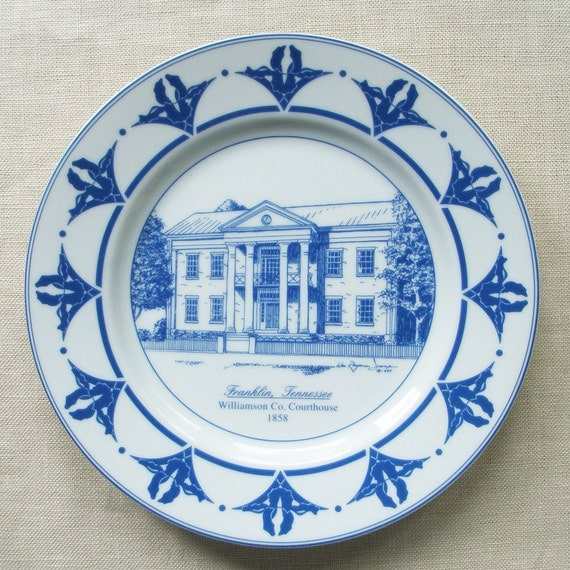 Court House Plate In Blue And White Porcelain Franklin TN