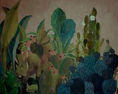 Desert plants landscape - illustration - giclee print
