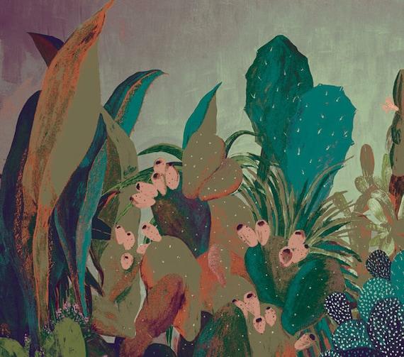 Cactus landscape - illustration - screen  printing - giclee print