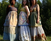 bamboo hippie patchwork apron top vintage pea green sun dress with pockets