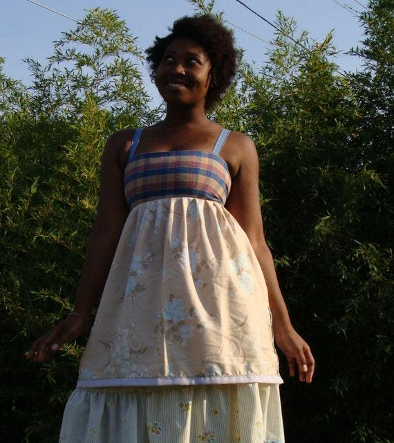 peach plaid apron dress hippie patchwork dress pockets pastel festival dress