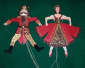 RESERVED FOR ANNIE - Nutcracker Suite Wooden Pull String Puppet Ornaments