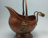 RESERVED for Reiko - Copper Lion's Head Coal Scuttle Bucket