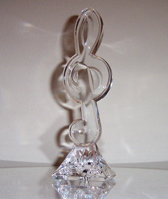 Waterford Crystal Treble Clef Paperweight Sculpture