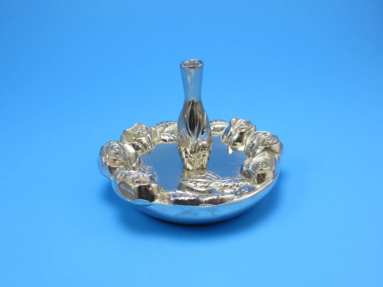 godinger silver plate roses ring holder