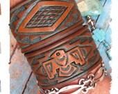 Native Tribal Aztec Eagle, Aztec Spirit, Leather Bracelet, Ladies Southwest Jewelry / Cyber Monday / copupon code