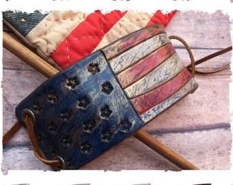 Leather Cuff, Leather Bracelet, American Flag, Americana, Patriotic,  Unisex Jewelry, Free to Ride, bracelet