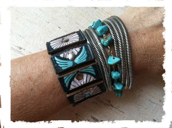 Leather Bracelet, Leather Cuff, Turquoise Bracelet, Southwest Jewelry. OOAK, Ladies