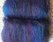 Black, Purple & Blue Blended Batt - merino, alpaca, bamboo, angelina spinning fibre approx 100g