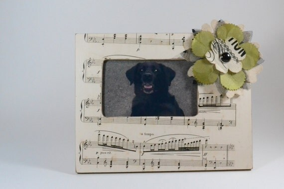 Upcycled Vintage Music Paper Picture Frame with a Fabric Flower