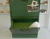 Vintage Metal Green Bin with Drawers