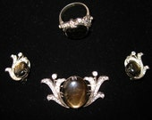 Set of vintage costume jewellery - labradorite and rhinestones