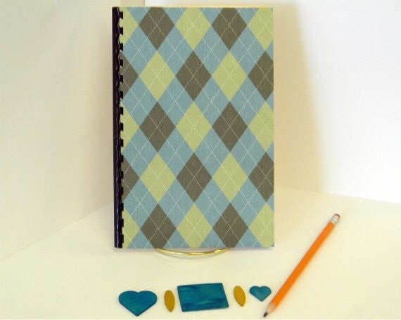 Username and Password notebook with and diagonal plaid design