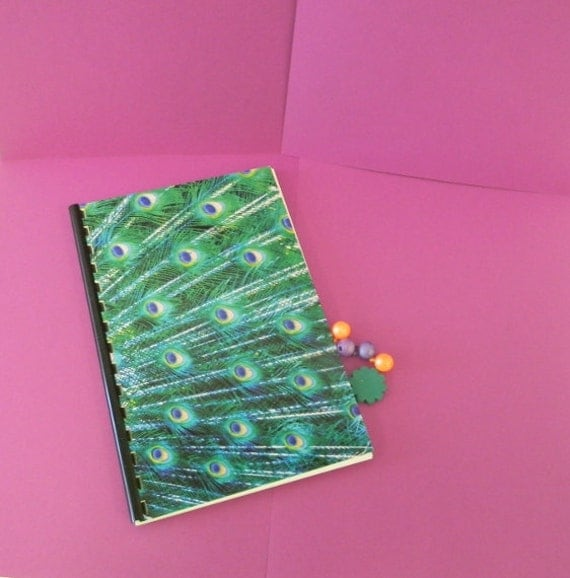 Password and Logon book with peacock feather design