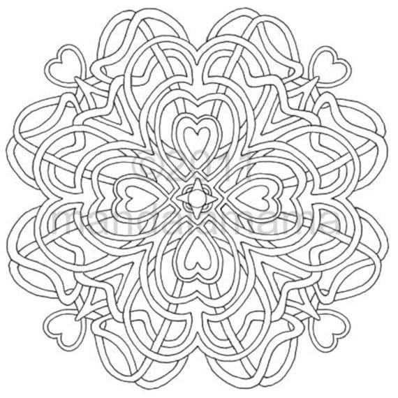 Digital Mandala Four of Hearts Print & color for