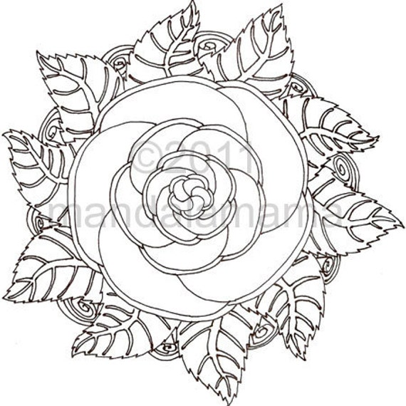 Items Similar To Digital Mandala Rose I Print