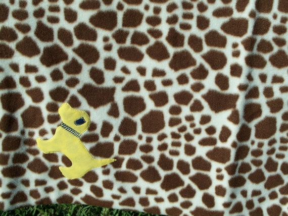 Price Reduced - Spotted Print Fleece Dog Blanket - with yellow dog applique and denim back