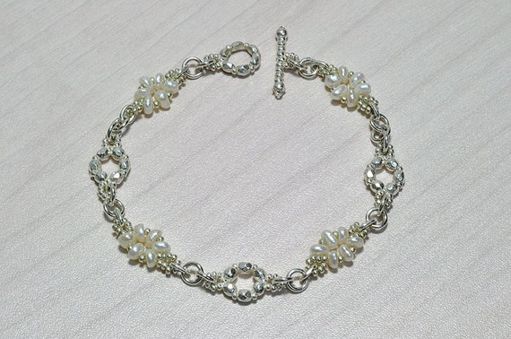 Wedding Bracelet, Silver and Pearls