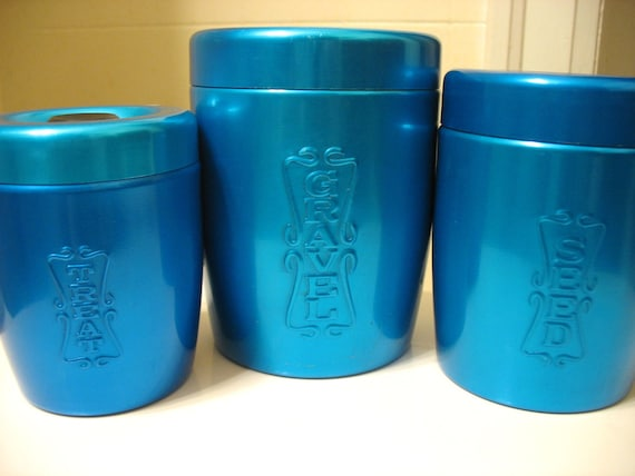 Blue Anodized Aluminum Nesting Canisters for Bird Gravel, Seed, Treat Made In Japan Set of 3 Treasury Item