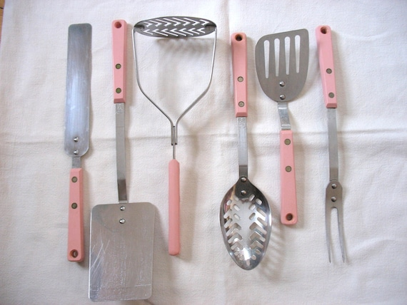 Pink Kitchen Utensils Set Of 6 Ecko Forge Stainless Steel