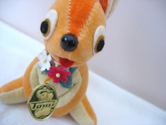 Toy Rabbit Stuffed Bunny Plush Easter Bunny Velvet Butterscotch and Orange Tomi Made in Japan Treasury Item