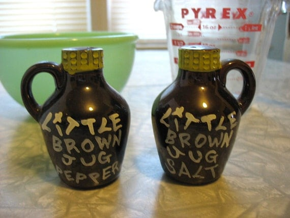 little brown jug salt and pepper shakers by