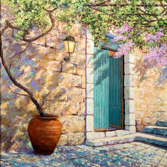 """An alley in Old Akko, Museum Quality Art Prints + Oil Painting by Miki Karni Size: 24"""" x 24"""""""