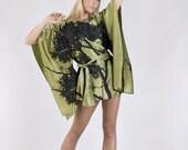 Silk Print Tree Silhouette Dress / Top in Olive Green