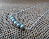 SALE 15% OFF - Freshwater pearl green necklace with silver chain