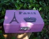 Shabby Chic Decorative Box Vintage Brooch Paris Crown  Eiffel Tower Bonjour
