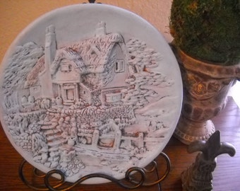 Vintage Turquoise Cottage Plate Wall Hanging Shabby Chic
