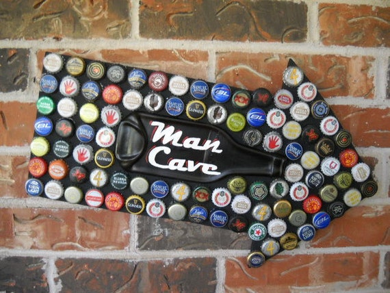 Man Cave beer bottle cap mosaic sign