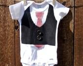 Vest and Tie Onesie - size 3-6 months, black vest with red tie