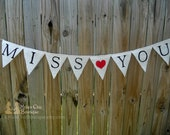 Burlap Banner Miss You - Family photo prop for our troops away from home
