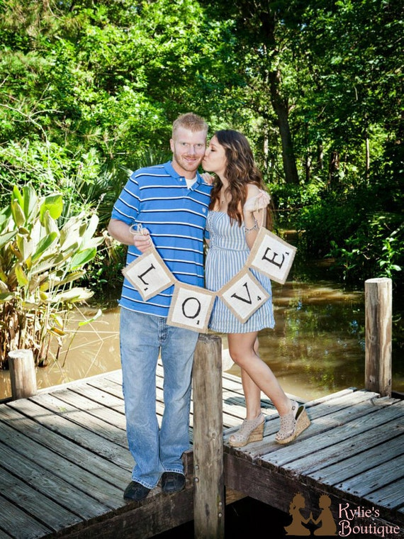 LOVE Scrabble Inspired Burlap Banner, Wedding, Engagement, and Valentines day prop