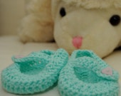 Baby mary janes 0-3 month Aqua - Ready to ship