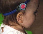 Headband with snap on flower - Blue with leaf