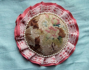 Needlepoint brooch, vintage petit point pin with ribbon, lace and bead embellishment