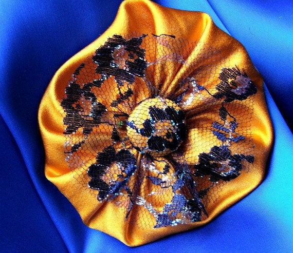 Halloween brooch, pin, cockade, rosette, corsage with black lace and pumpkin satin