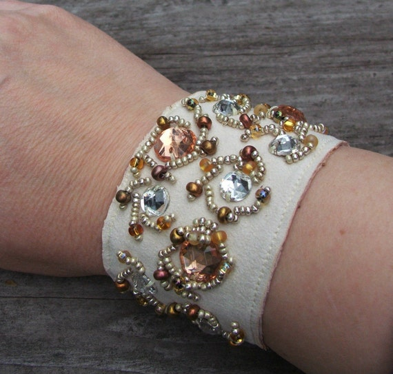 beaded cuff, rhinestone bracelet, reserved for LovelyMrsK