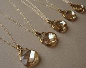 Bridal Necklace, gold filled, wedding gift, bridesmaids jewelry, Swarovski crystal pendant, bridal party, maid of honor