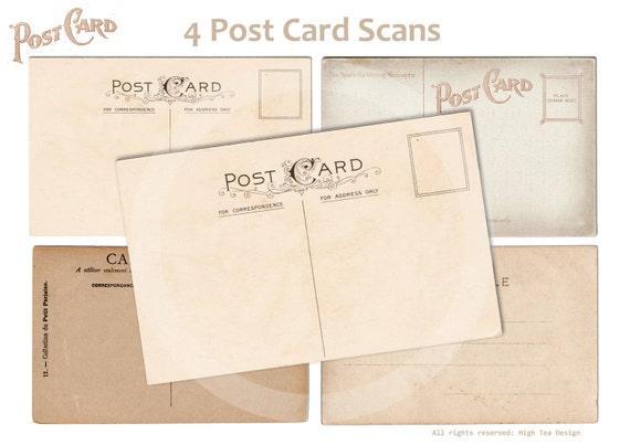 4 POST CARD SCANS  - Digital Collage Sheet - Printable Download - Scrapbooking - Carte Postale