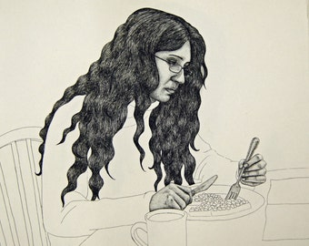 Portrait of lady at the dinner table - original hard ground etching print - fine drawing