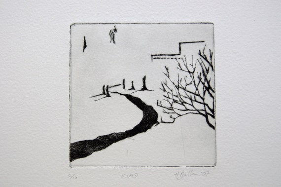 Original dry point print - autumn tree and path leading past art college