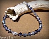 Violet blue iolite tiny star beaded bracelet