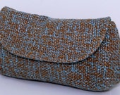 Upcycled Brown and Blue Tweed Clutch